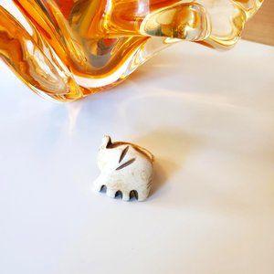 3/30$ 🍂 Hand Carved Natural Bone Beige Brown Animal Elephant Etched Ring